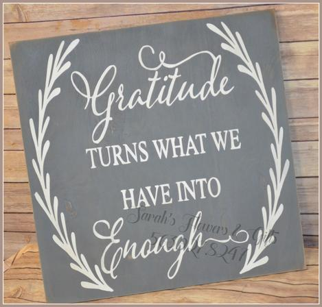 Gratitude turns what we have into enough handmade sign
