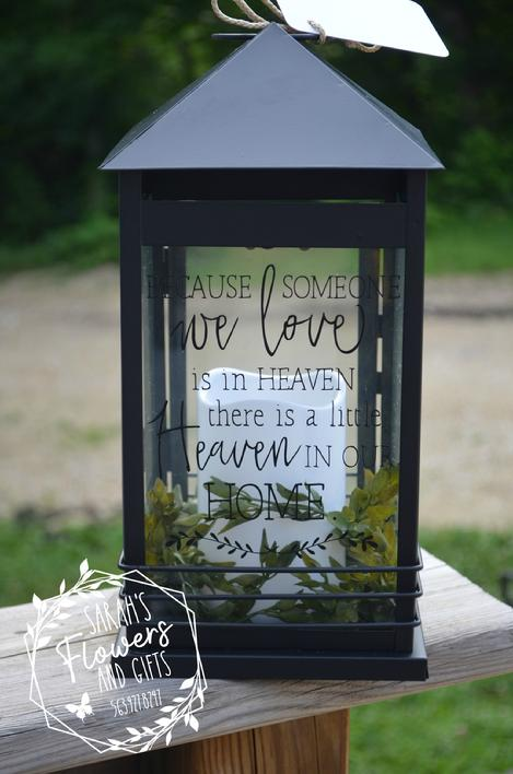 Black memorial lantern suitable for wakes and funerals in Manchester Iowa and surrounding areas