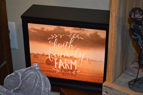 Lighted Boxes with verses, Jada Venia, Boxes that light up for funerals, Leonard Muller Funeral Home, Bohnenkamp-Murdoch Funeral Homes , Because someone we love is in heaven, there's a bit of heaven in our home. Faith Family Farming